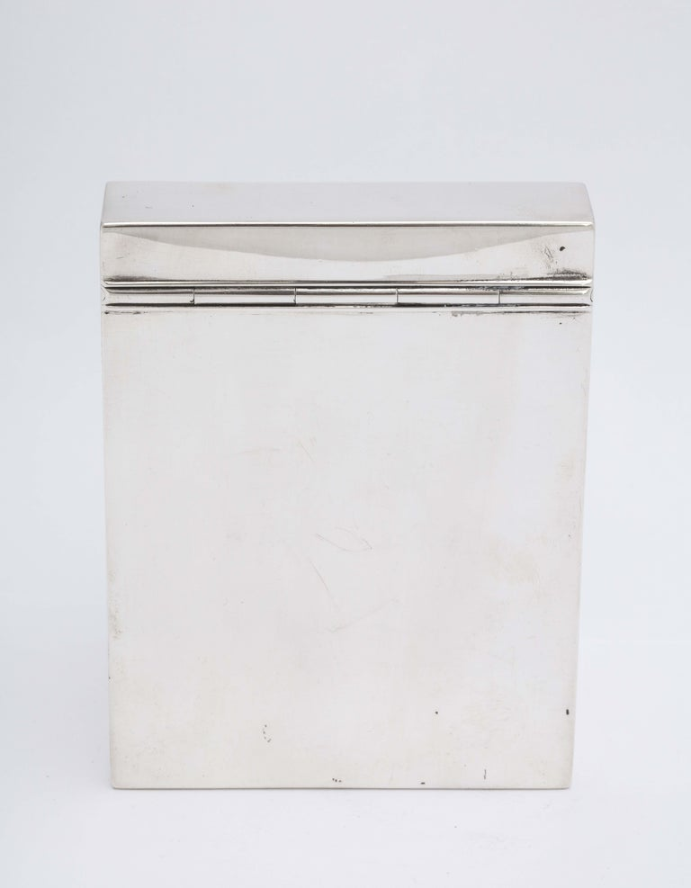 Regency Style Sterling Silver Knife-Box-Form Tea Caddy with Hinged Lid For Sale 1