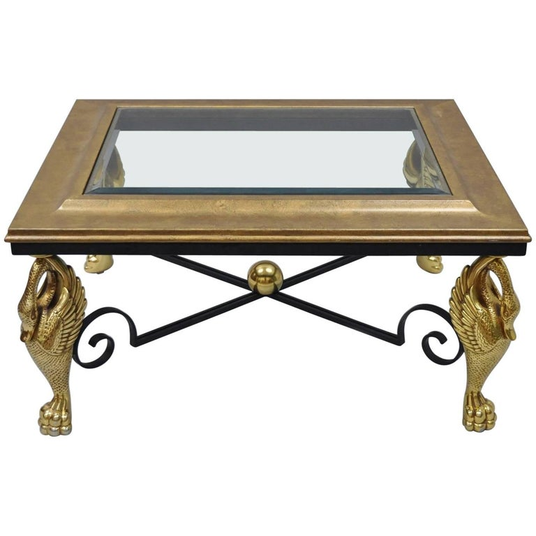 Glass Top Coffee Table With Iron Base: Regency Style Swan Base Rectangular Coffee Table Gold