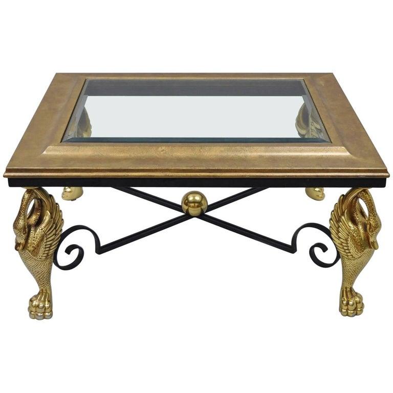 Regency Style Swan Base Rectangular Coffee Table Gold