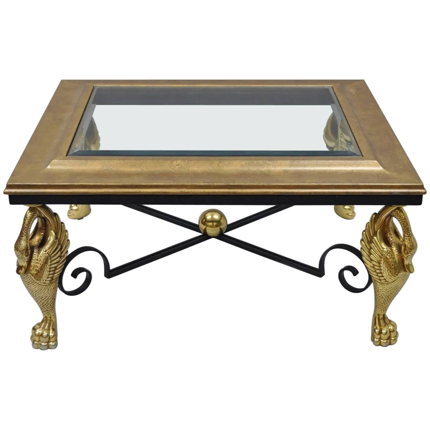 Regency Style Swan Base Rectangular Coffee Table Gold Metal Iron And Glass  Top For Sale
