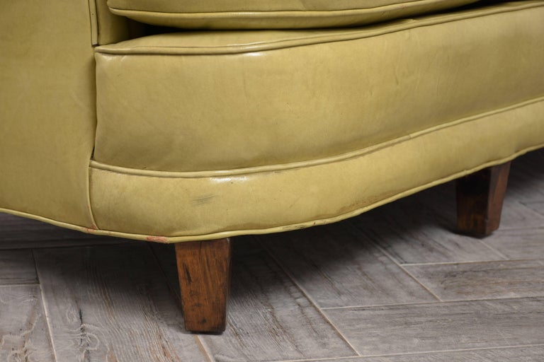 Regency Style Three-Seat Leather Sofa For Sale 4