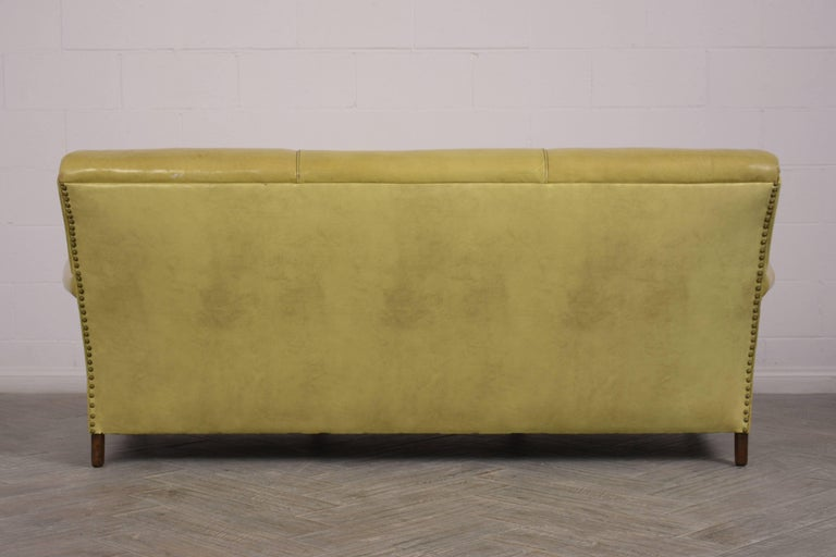 Regency Style Three-Seat Leather Sofa For Sale 5