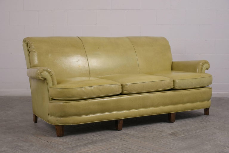 American Regency Style Three-Seat Leather Sofa For Sale