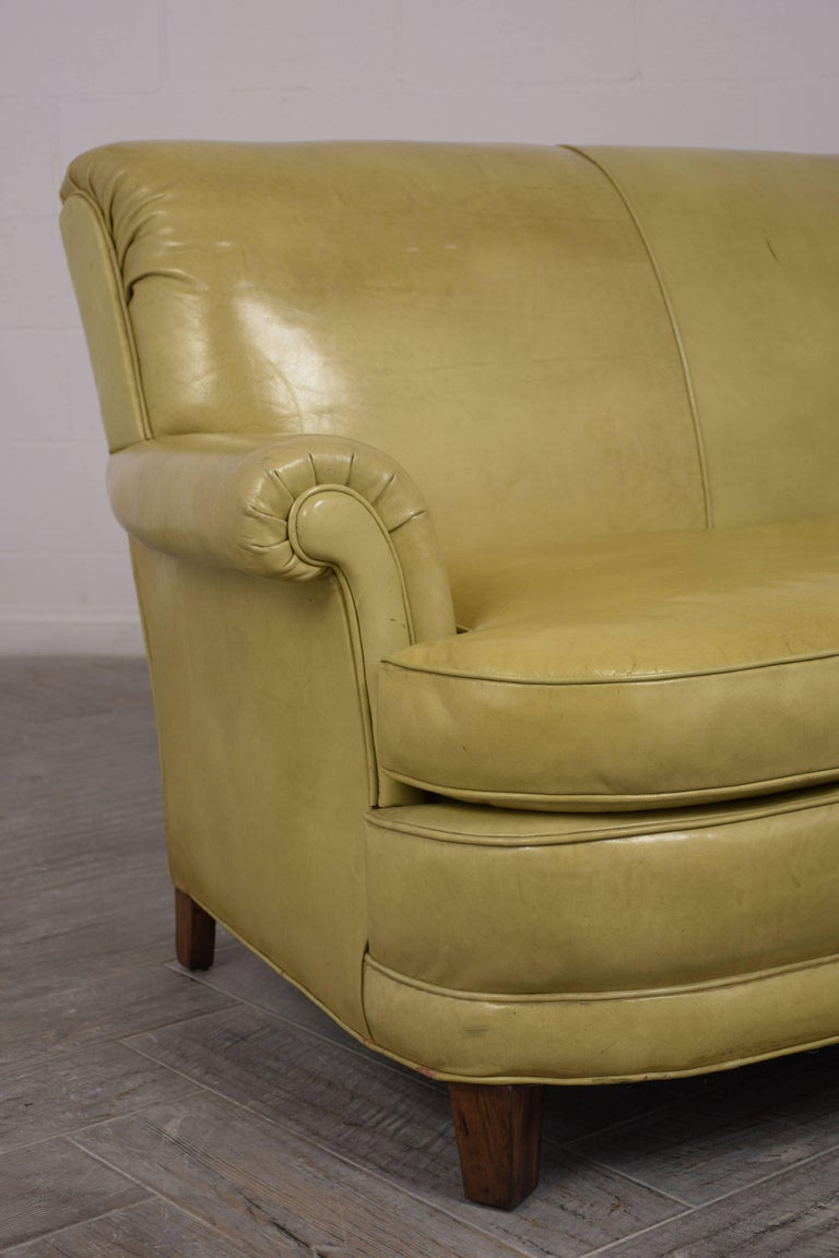 Dyed Regency Style Three-Seat Leather Sofa For Sale
