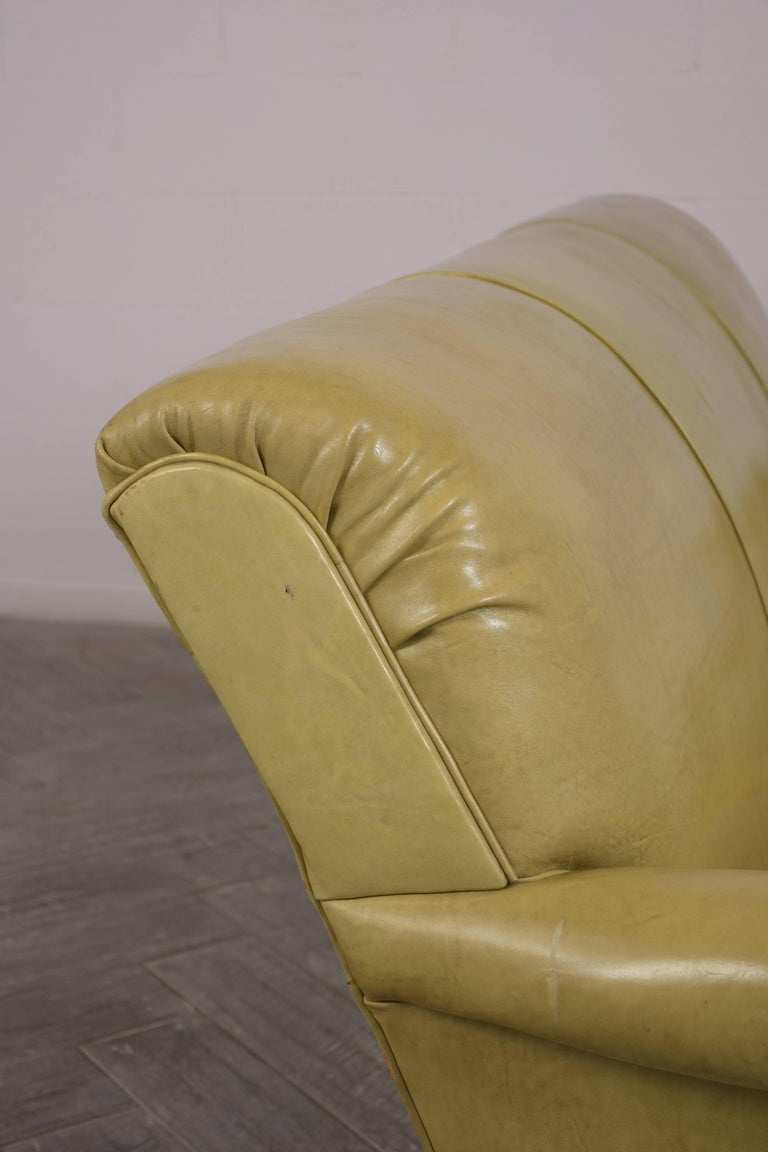 20th Century Regency Style Three-Seat Leather Sofa For Sale