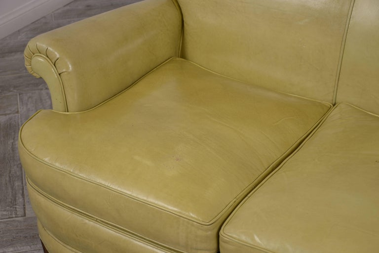 Regency Style Three-Seat Leather Sofa For Sale 1
