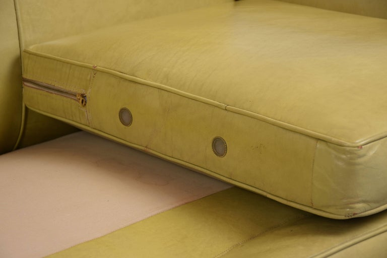 Regency Style Three-Seat Leather Sofa For Sale 2