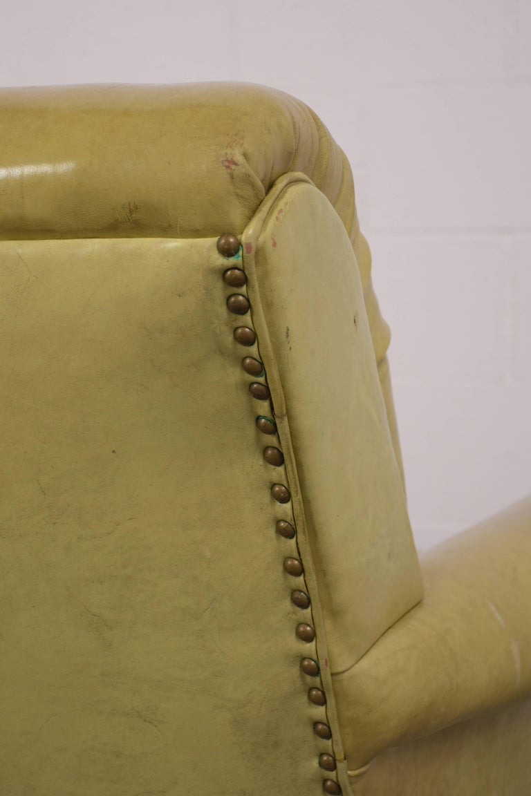 Regency Style Three-Seat Leather Sofa For Sale 3
