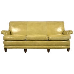 Regency Style Three-Seat Leather Sofa