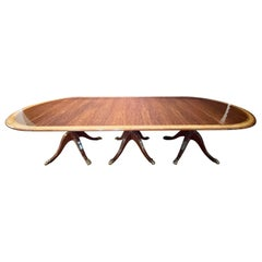 Regency Style Triple Pedestal Dining Room Table Banded and Fully Refinished