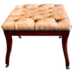 Regency Style Tufted Leather Bench