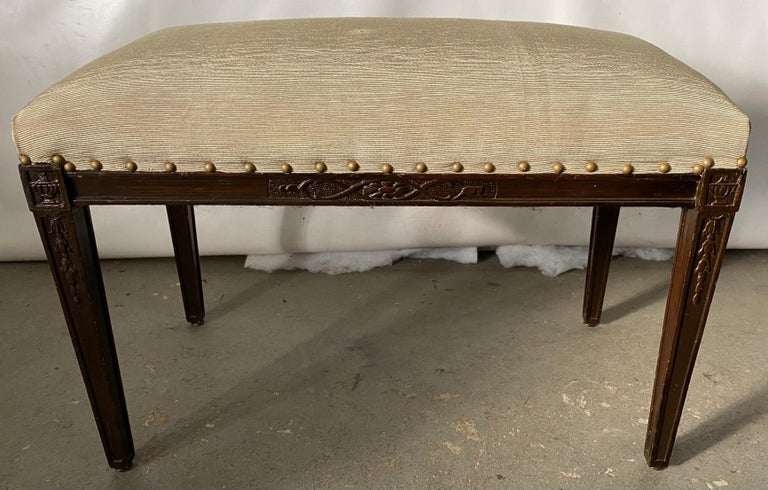 Regency Style Upholstered Bench In Good Condition For Sale In Great Barrington, MA