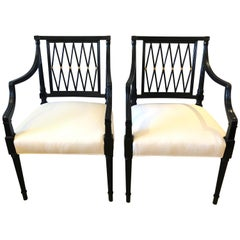 Regency Style Very Sophisticated Ebonized Lattice Back Armchairs