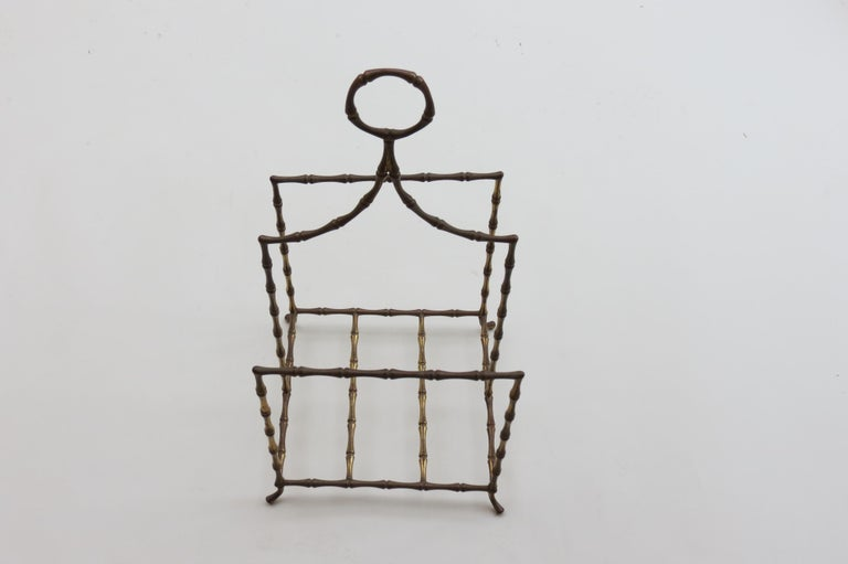 Machine-Made Regency Style Vintage Brass Bamboo Magazine Rack, 1960s For Sale