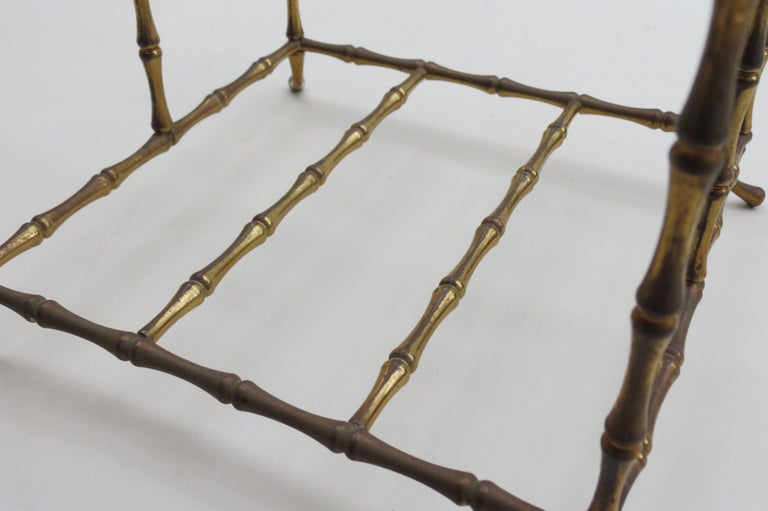 Regency Style Vintage Brass Bamboo Magazine Rack, 1960s In Fair Condition For Sale In Stow on the Wold, GB