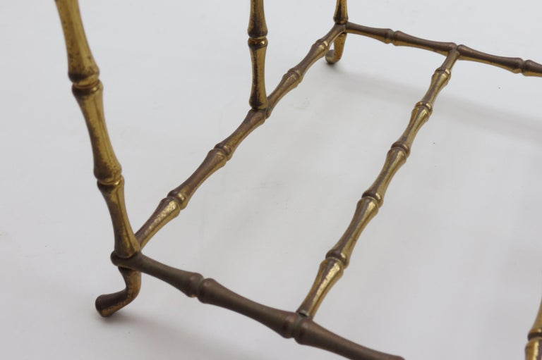 Mid-20th Century Regency Style Vintage Brass Bamboo Magazine Rack, 1960s For Sale