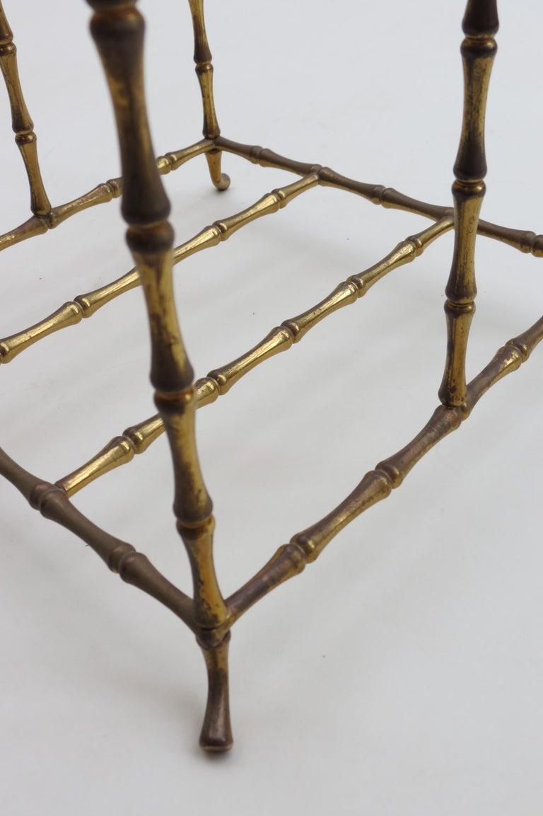 Regency Style Vintage Brass Bamboo Magazine Rack, 1960s For Sale 1