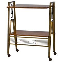 Regency Style Vintage Bronze and Walnut Server Bar Cart