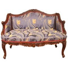 Regency Style Walnut Settee France 19th Century