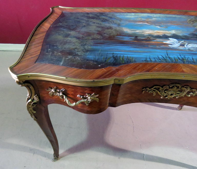 Regency Paint Decorated Antique French Louis XV Ladies Writing Desk Table Manner Linke For Sale