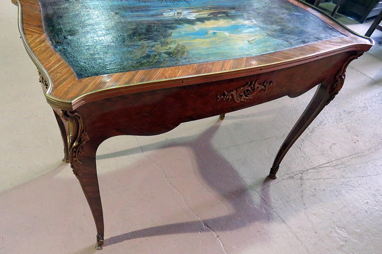 Brass Paint Decorated Antique French Louis XV Ladies Writing Desk Table Manner Linke For Sale
