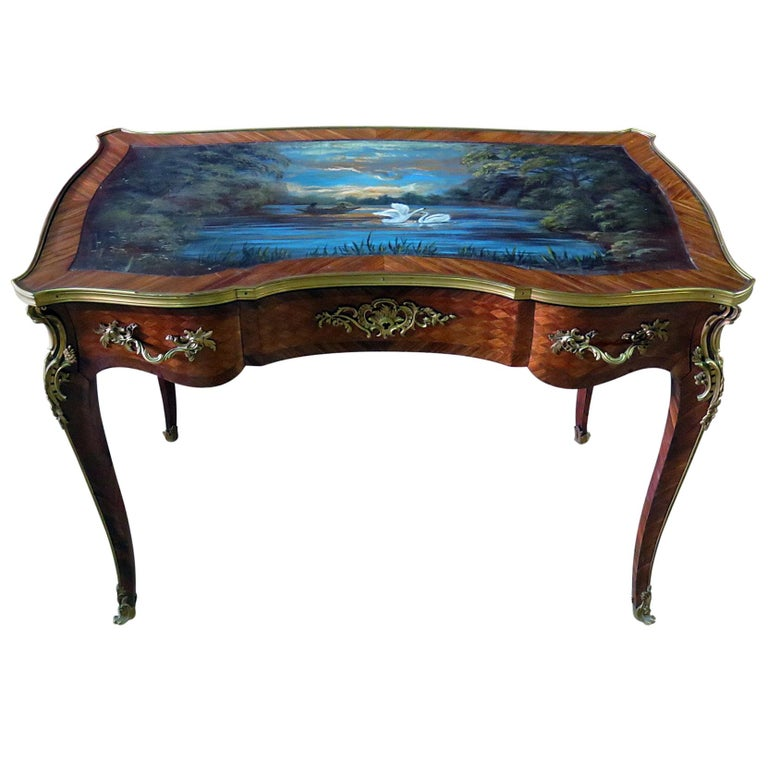 Paint Decorated Antique French Louis XV Ladies Writing Desk Table Manner Linke For Sale