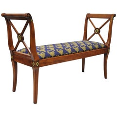 Regency Style X-Form Window Hall Bench Gold Fabric Maitland-Smith Attributed
