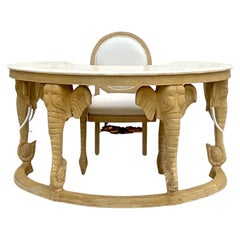 Regency Tessellated Stone Curved Elephant Desk and Matching Chair