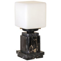 Vintage Table Lamp from the 1970s with Black Marble Base and Opaline