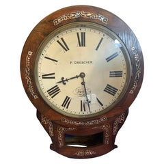 Regency Wall Clock, Rosewood with Mother of Pearl Inlay