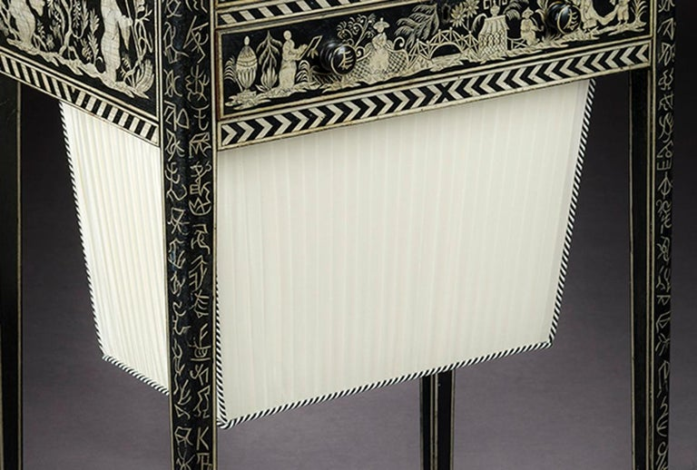 English Regency Work Table with Chinoiserie Penwork Decoration For Sale