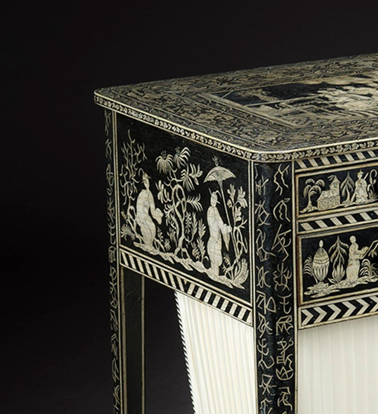 Regency Work Table with Chinoiserie Penwork Decoration In Excellent Condition For Sale In New York, NY
