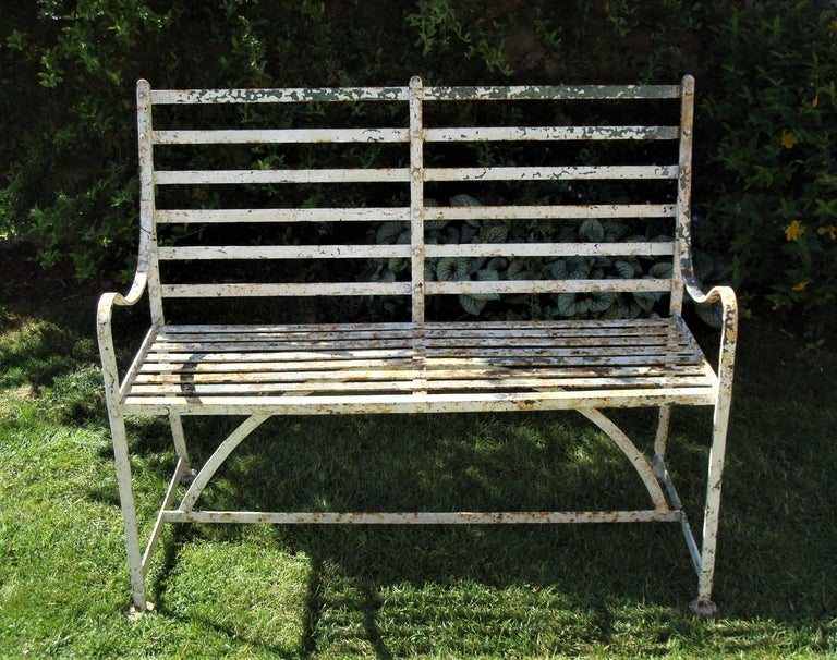 English Regency Wrought Iron Garden Seat For Sale