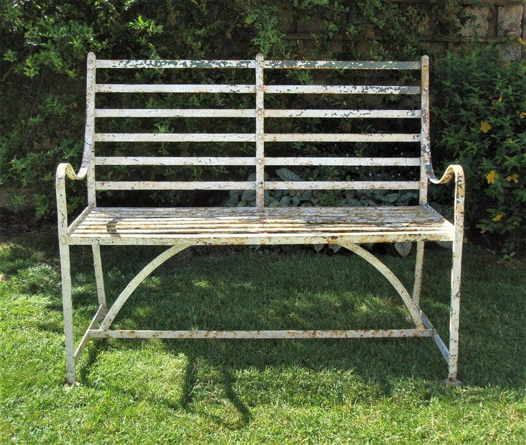Regency Wrought Iron Garden Seat In Good Condition For Sale In Moreton-in-Marsh, Gloucestershire