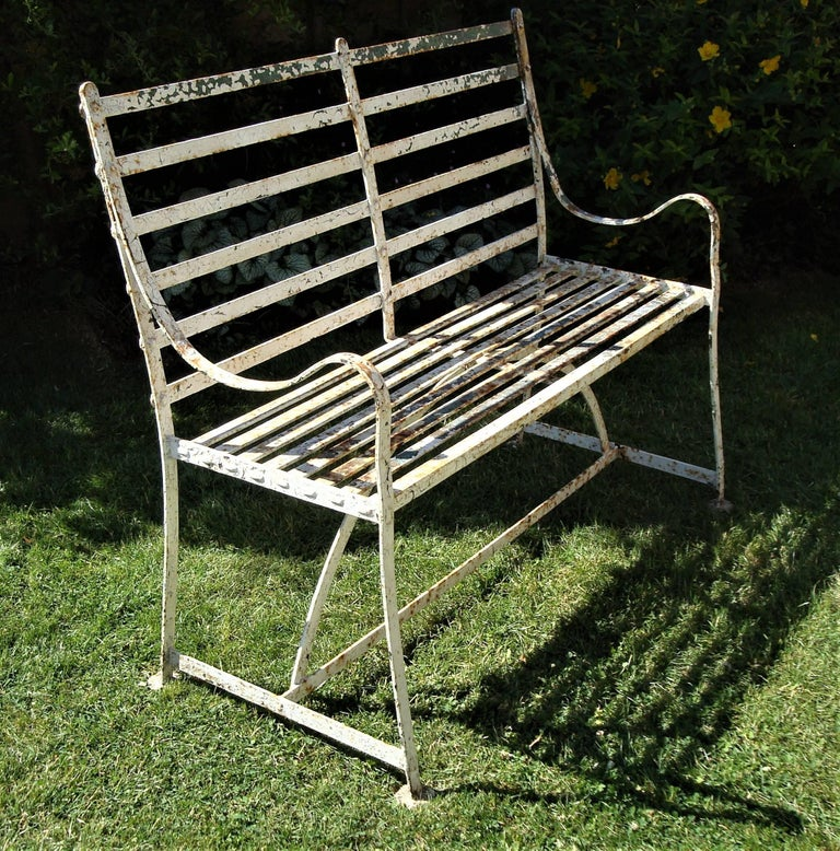 19th Century Regency Wrought Iron Garden Seat For Sale
