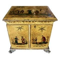 Regency Yellow Chinoiserie Vanity Cabinet