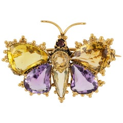 Regency Yellow Gold and Gemset Butterfly Brooch