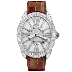 Regent Baguette 4047 Luxury Diamond Watch for Men, 18 Karat White Gold