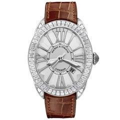 Regent Baguette 4047 Luxury Diamond Watch for Men, 18 Karat White Gold
