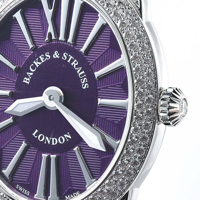 The Regent Renaissance Ballerina 2833 is a luxury diamond watch for women crafted in 18kt White gold, featuring the purple oval dial, mechanical movement. The case, bracelet and crown are set with white Ideal Cut diamonds. It is a 28 mm x 33 mm slim