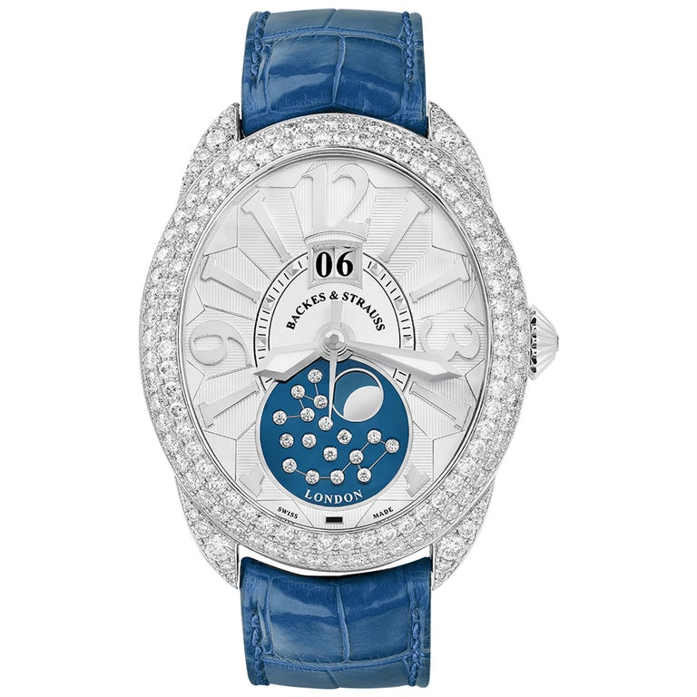 Regent Steel 1609 AD Moon Phase 4047 Luxury Diamond Watch for Men's White Gold For Sale