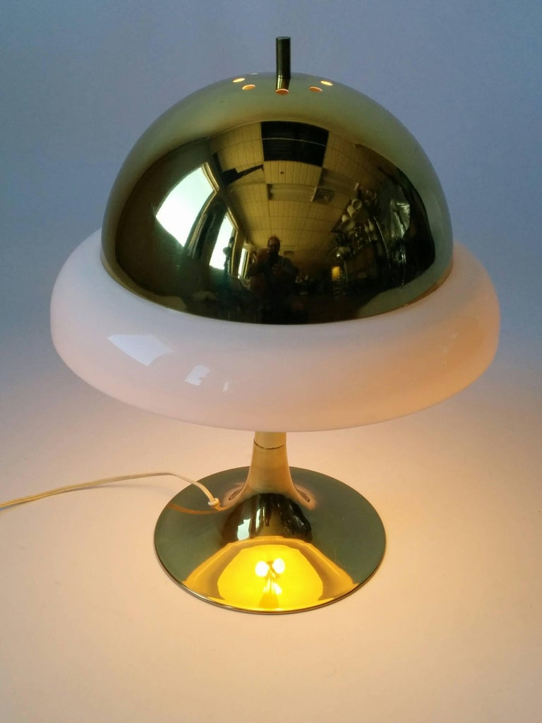 Plated Reggiani Brass and Perspex Table Lamp Mid-Century, 1960s, Italy For Sale