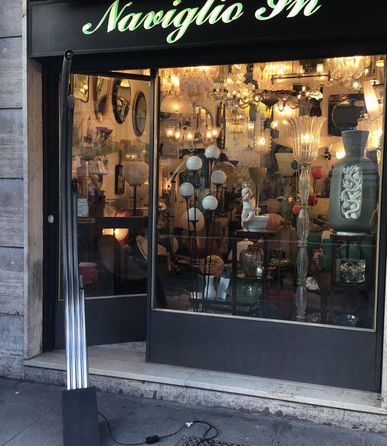 Reggiani Floor Lamp Four Lights Chrome and Cast Iron, Italian, 1970 For Sale 9
