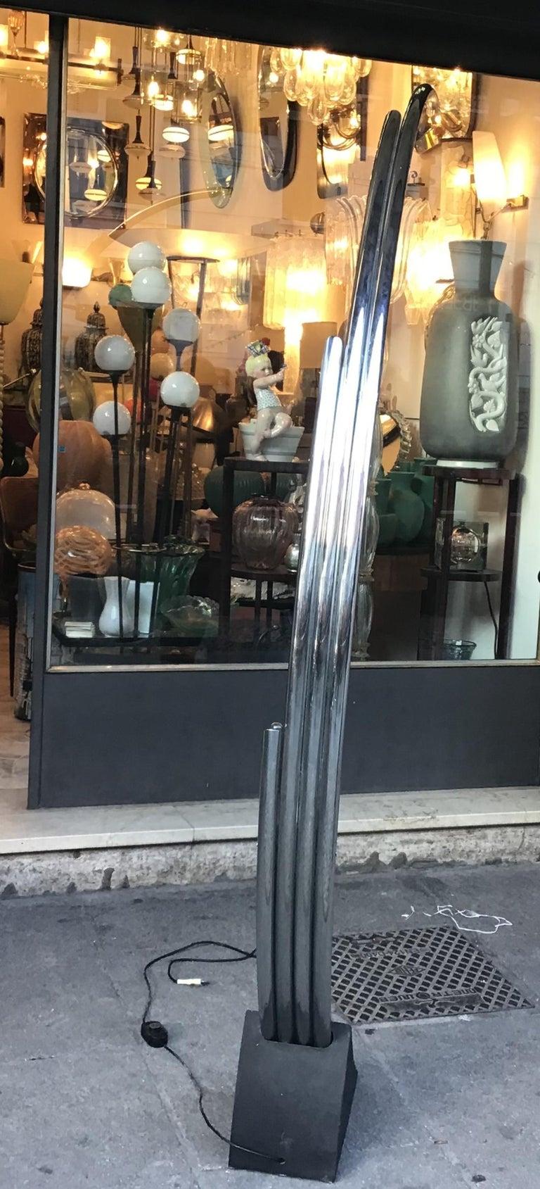 Reggiani Floor Lamp Four Lights Chrome and Cast Iron, Italian, 1970 For Sale 3