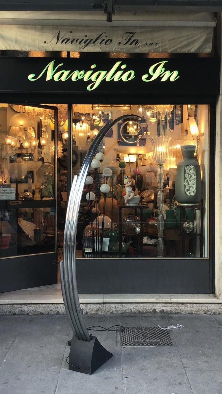Reggiani Floor Lamp Four Lights Chrome and Cast Iron, Italian, 1970 For Sale 4