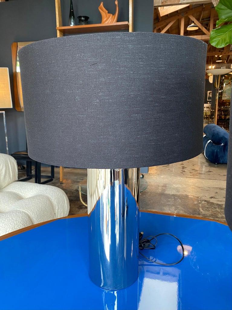 European Reggiani, Pair of Italian Table Lamps in Chrome For Sale