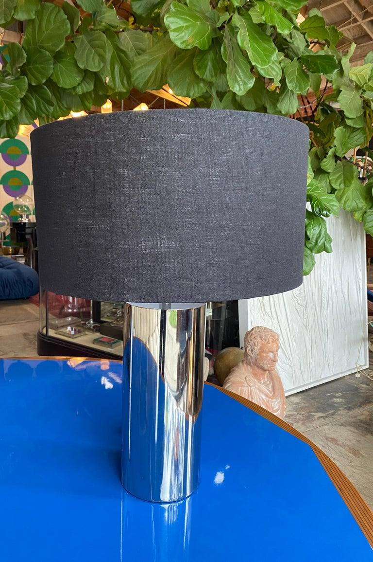 Reggiani, Pair of Italian Table Lamps in Chrome In Excellent Condition For Sale In Los Angeles, CA