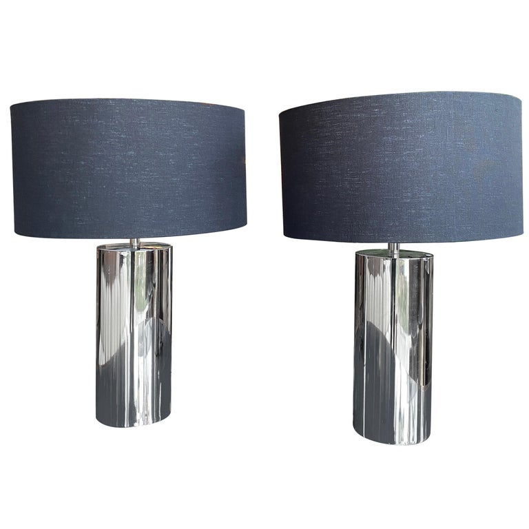 Reggiani, Pair of Italian Table Lamps in Chrome For Sale