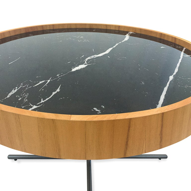 Regia Occasional Table in Teak featuring Nero Glass For Sale 5