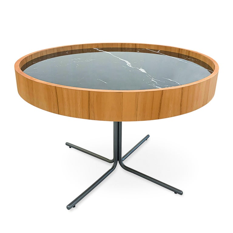 Regia Occasional Table in Teak featuring Nero Glass For Sale 7